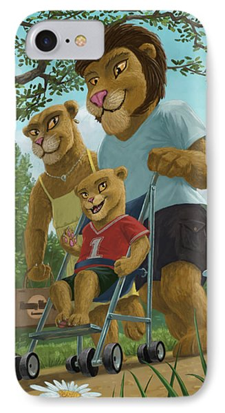 Lion Family In Park Phone Case by Martin Davey