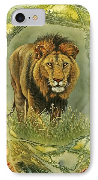 Lion In Abstract Phone Case by Paul Krapf