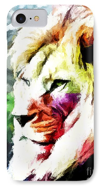 IPhone Case featuring the painting Lion - Leone by Ze  Di