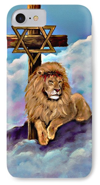 Lion Of Judah At The Cross IPhone Case by Bob and Nadine Johnston