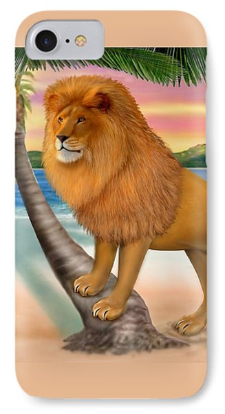 Lion On The Beach IPhone Case by Glenn Holbrook