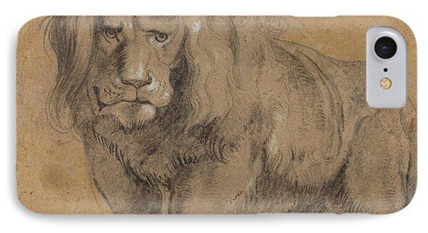 Lion Sketch Phone Case by Paul Ruebens
