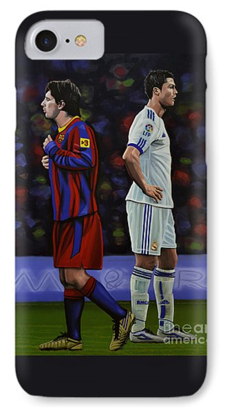 Lionel Messi And Cristiano Ronaldo IPhone 7 Case by Paul Meijering
