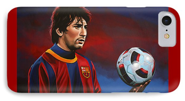 Barcelona iPhone 7 Case - Lionel Messi 2 by Paul Meijering
