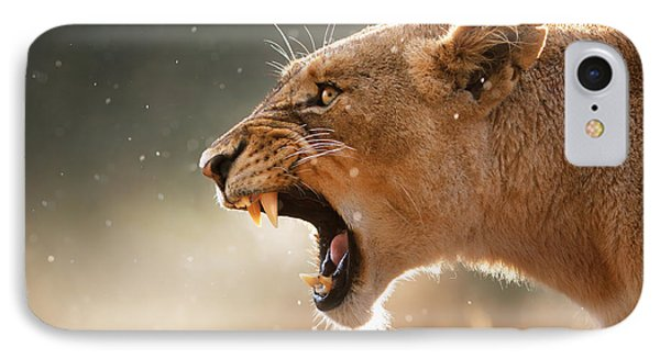 Lioness Displaying Dangerous Teeth In A Rainstorm IPhone 7 Case by Johan Swanepoel
