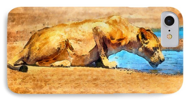 Lioness Drinking Phone Case by George Rossidis