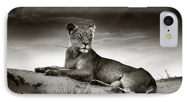 Lioness On Desert Dune Phone Case by Johan Swanepoel