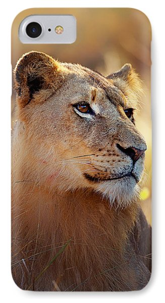 Lioness Portrait Lying In Grass IPhone Case by Johan Swanepoel
