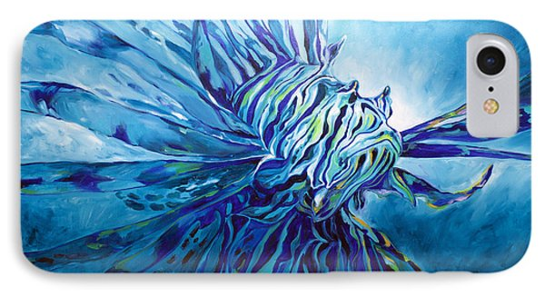 Lionfish Abstract Blue IPhone Case