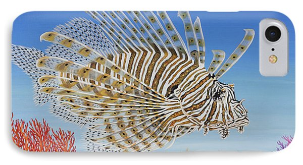 IPhone Case featuring the painting Lionfish And Coral by Jane Girardot