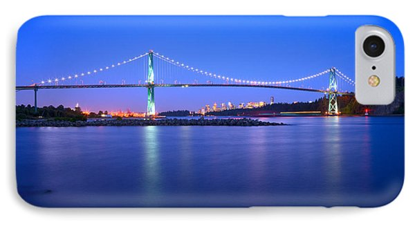 Lions Gate Bridge At Dusk 2 IPhone Case by Terry Elniski