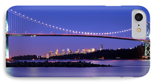 Lions Gate Bridge At Dusk 3 IPhone Case by Terry Elniski