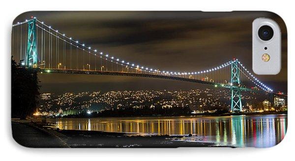 Lions Gate Bridge At Night Phone Case by David Gn