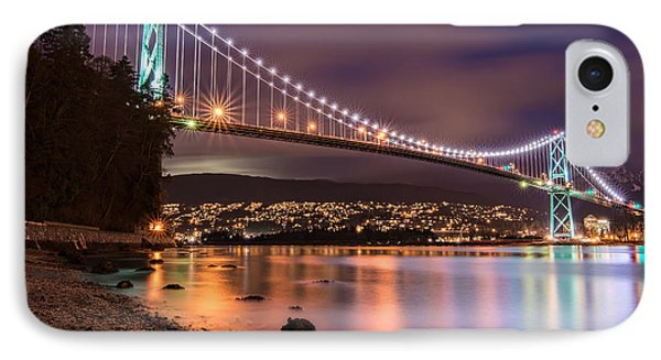 Lions Gate Bridge At Night IPhone Case by James Wheeler