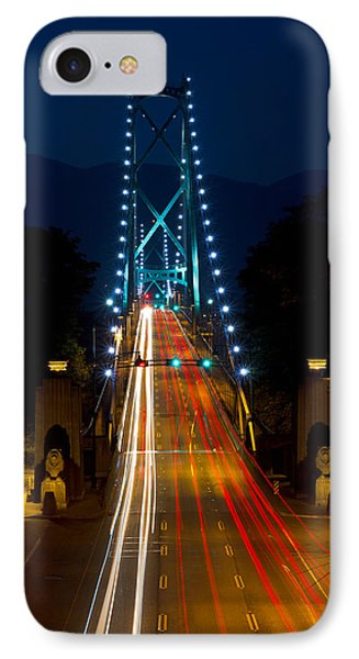 Lions Gate Bridge Traffic Phone Case by Michael Russell