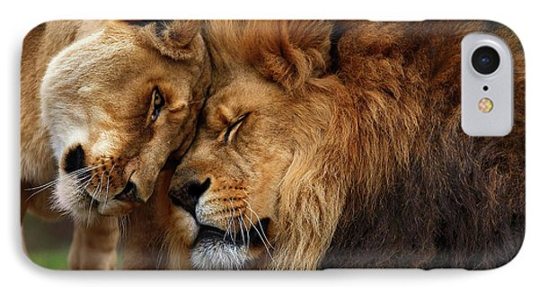 Lions In Love IPhone Case by Emmanuel Panagiotakis