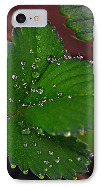Liquid Pearls On Strawberry Leaves Phone Case by Lisa Phillips