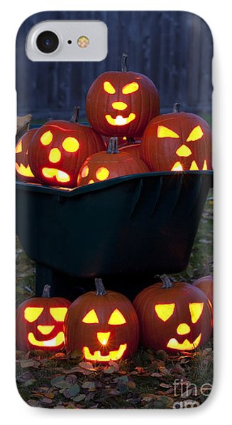 Lit Carved Pumpkins In Wheelbarrow IPhone Case