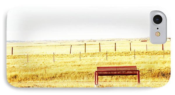 Little Bench On The Prairie Phone Case by Lenore Senior