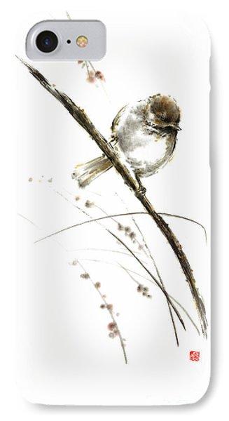Little Bird On Branch Watercolor Original Ink Painting Artwork IPhone Case by Mariusz Szmerdt