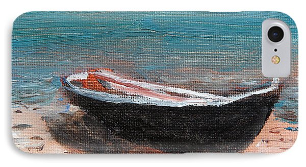 IPhone Case featuring the painting Little Black Boat by Michael Helfen