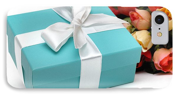 Little Blue Gift Box And Flowers Phone Case by Amy Cicconi
