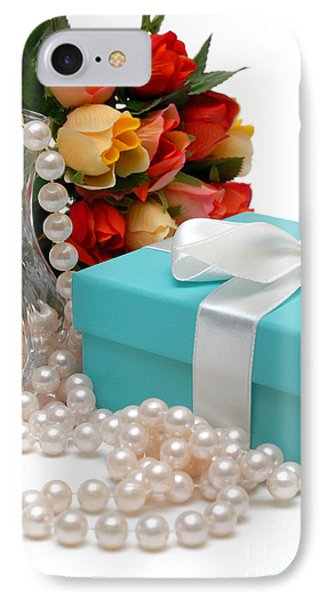 Little Blue Gift Box With Pearls And Flowers IPhone Case by Amy Cicconi