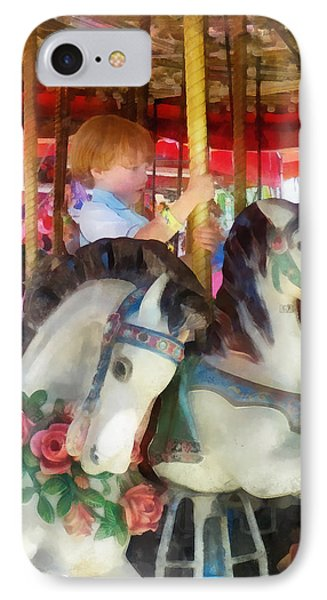 Little Boy On Carousel Phone Case by Susan Savad