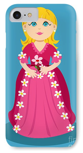 Little Cartoon Princess With Flowers Phone Case by Sylvie Bouchard