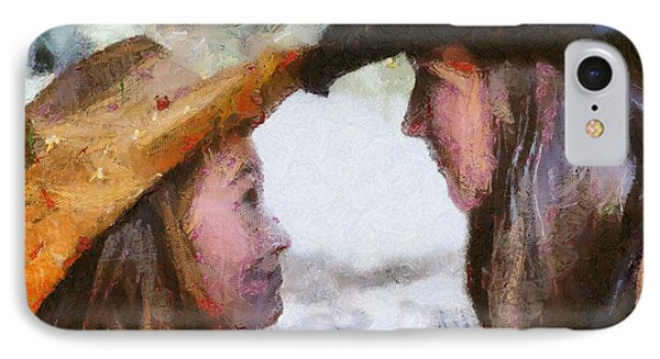 IPhone Case featuring the digital art Happy Sisters by Carrie OBrien Sibley