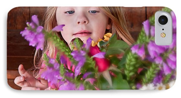 Little Girl Flower Arranging Phone Case by Valerie Garner