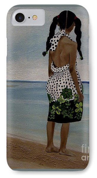 Little Girl On The Beach IPhone Case by Chelle Brantley