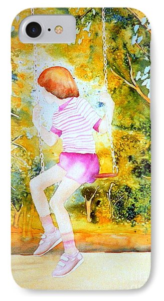 Little Girl On The Park Swing Westmount Quebec City Scene Montreal Art Phone Case by Carole Spandau