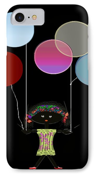 Little Girl With Balloons IPhone Case by Asok Mukhopadhyay