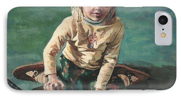 IPhone Case featuring the painting Little Girl With Guitar by Joy Nichols