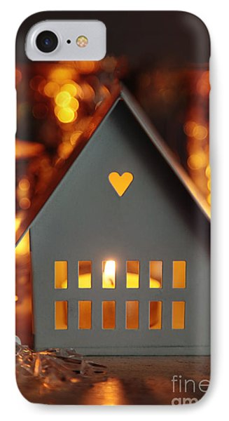 IPhone Case featuring the photograph Little Gray House Lit With Candle For The Holidays by Sandra Cunningham