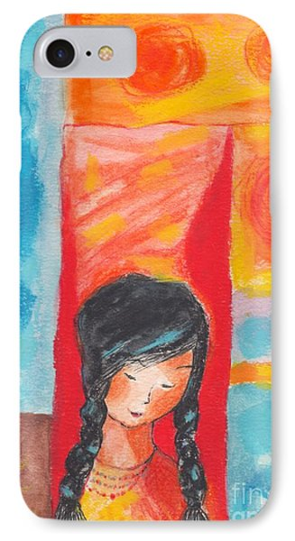 IPhone Case featuring the painting Little Indian Girl  by Mary Armstrong