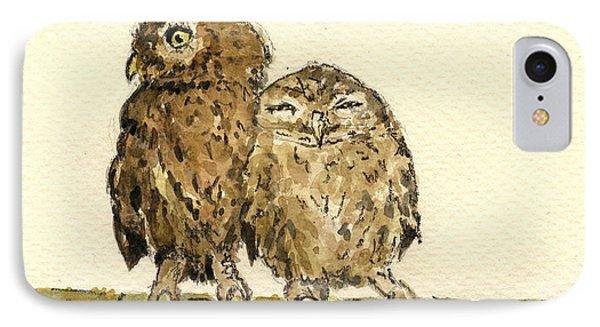 Little Owls IPhone Case by Juan  Bosco
