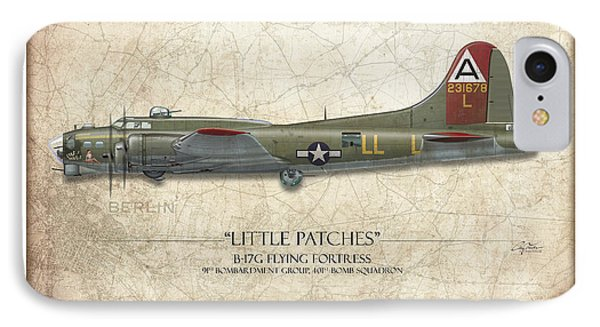 Little Patches B-17 Flying Fortress - Map Background IPhone Case by Craig Tinder
