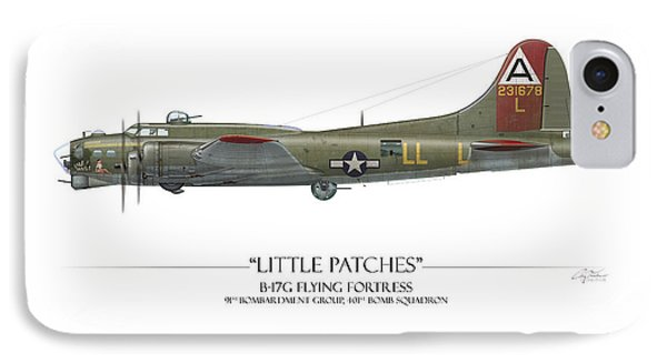 Little Patches B-17 Flying Fortress - White Background IPhone Case by Craig Tinder