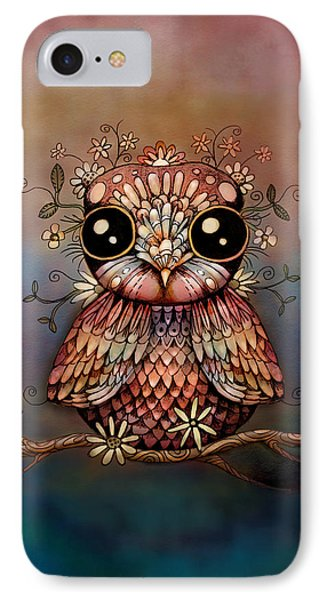 Little Rainbow Flower Owl Phone Case by Karin Taylor