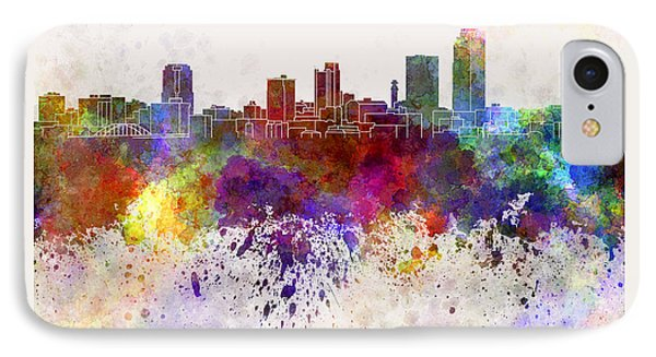 Little Rock Skyline In Watercolor Background Phone Case by Pablo Romero