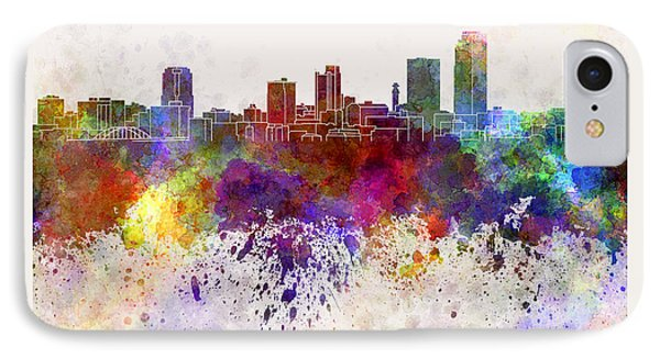 Little Rock Skyline In Watercolor Background IPhone Case