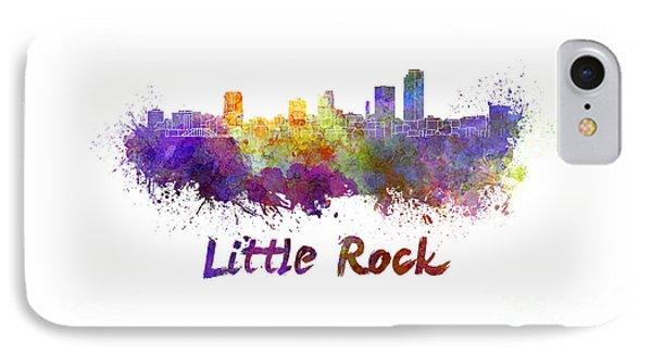 Little Rock Skyline In Watercolor Phone Case by Pablo Romero