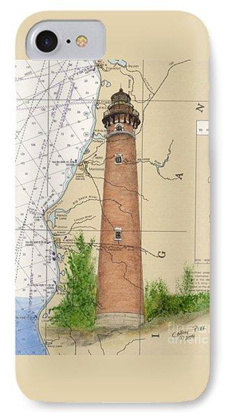 Little Sable Lighthouse Lake Mi Nautical Chart Map Art Cathy Peek IPhone Case by Cathy Peek