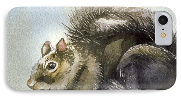 Little Squirrel Watercolor IPhone Case by Alfred Ng