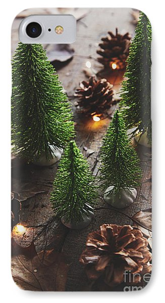 Little Trees With Pine Cones And Leaves  IPhone Case by Sandra Cunningham