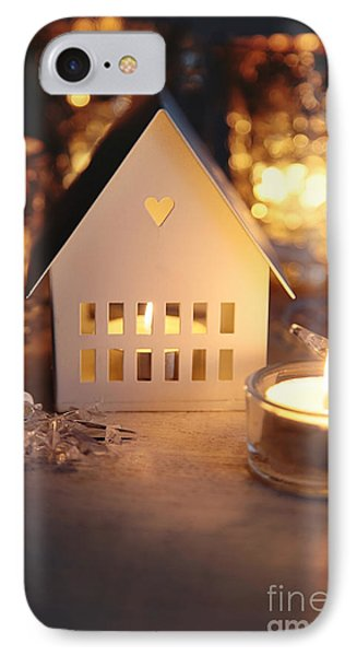 IPhone Case featuring the photograph Little White House Lit With Candle For The Holidays by Sandra Cunningham