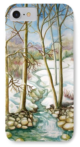 IPhone Case featuring the painting Living Creek by Inese Poga