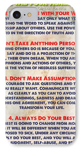 Living The Four Agreements - Wisdom Of The Toltecs IPhone Case by Celestial Images